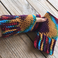 CROCHET PATTERN - Ribbed Cuff Fingerless Gloves, Texting Gloves, Intermediate Crochet Pattern, Step by Step Instructions - Instant Download