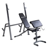 Costway Adjustable Weight Lift Bench+Rack Set Fitness Barbell Dumbbell Workout