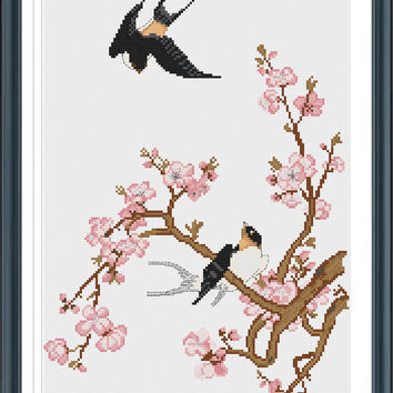 Swallow And Plum Blossom Cross Stitch Pattern, Counted Cross Stitch Pattern, Instant Download, Cross Stitch PDF, Cross Stitch Floswer