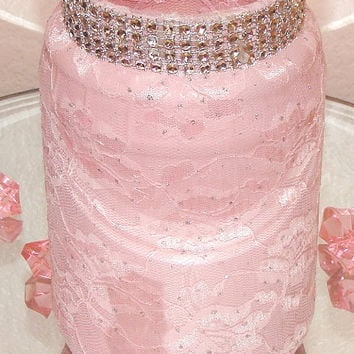 Vintage vase, Wedding Centerpiece Decor, Pink Lace glass vase, Vintage mason jar , Home Decor, Quinceanera, Baby showers, Bridal showers