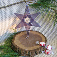 Hanukkah Star / Christmas Ornament / Suncatcher - Lavender Glass Star - Squiggled Silver Wire with Silvery Clear  accent beads