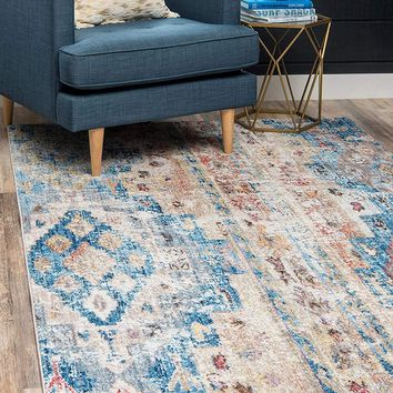 0174 Light Blue Bohemian Vintage Area Rugs