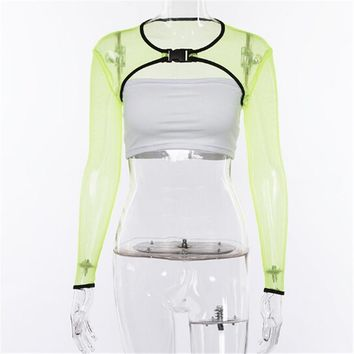 Women Mesh Sheer Tank Top Fishnet Hollow Out Crop Tops Solid Green Color Floral Clothes Large Size