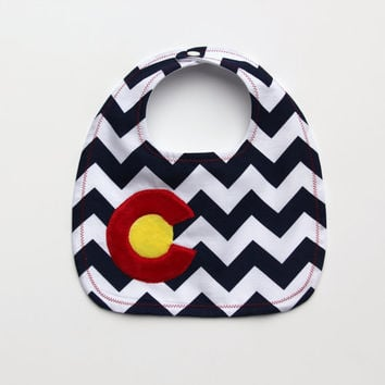 Colorado Flag  Baby Bib, Navy Chevron Colorado Bib, I Love Colorado Bib, Waterproof Bib, Chevron Bib