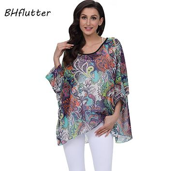 BHflutter 2018 Women Tops Tees Batwing Sleeve Casual Summer Blouses New Arrival Fashion Boho Style Chiffon Blouse Shirt Blusas