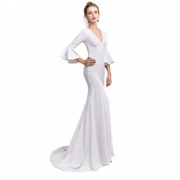 Evening Dress 3/4 Sleeve Evening Dresses Mermaid Sexy Deep V-Neck White Prom Dress