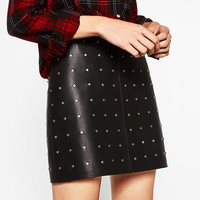 2016 Autumn Winter Fashion Woman Black Short high rise skirt faux leather effect with Studded detail Zip closure Mini skirts