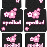 Plasticolor Spoiled w/ Pink Flowers Front & Rear Floor Mat Set