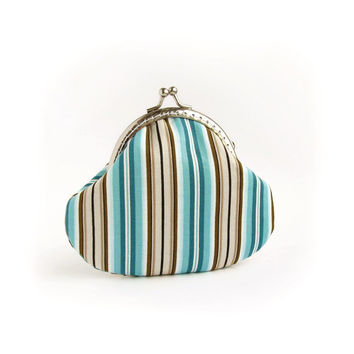 Coin Purse Stripes, Turquoise, Brown, Emerald Green Pouch with Kisslock
