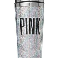 Victoria's Secret PINK Coffee Or Tea Portable Cup Tumbler Iridescent Glitter & BONUS VS Decal