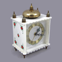 Wake Up - Vintage Elgin Ladies' Alarm Clock, Fancy White Case with Roses & Lattice Pattern, Scalloped Edges, Bell Top, Works