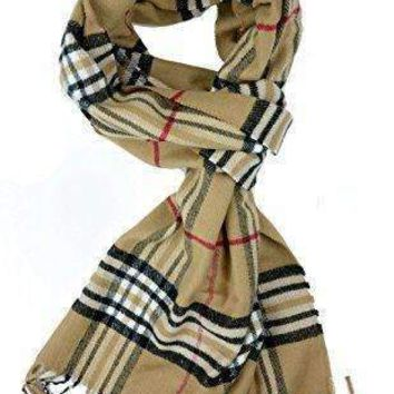 Plum Feathers Super Soft Luxurious Cashmere Feel Winter Scarf (Classic Camel Plaid)