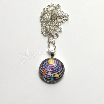 Solar System Art Pendant, with necklace, original painting under glass, mini art, NOT A PRINT