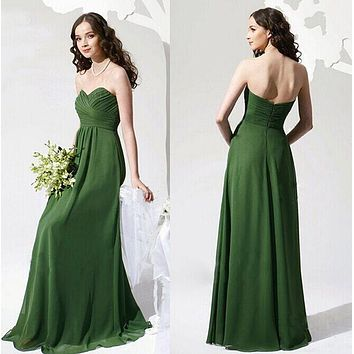 l hu00050 wine red mint green coranter jade colore chiffon strapless prom party dresses new fashion 2015 bridesmaid dress longd
