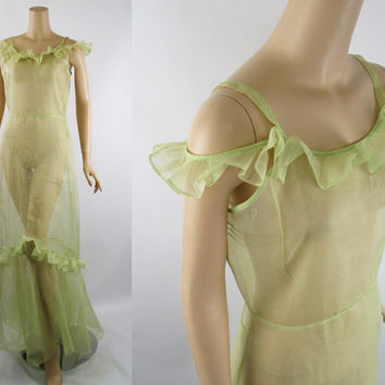 1930s Dress Full Length Sheer Lime Organdy Afternoon or Evening Gown B36 W30