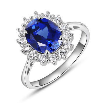 2.5CT Blue Tanzanite White Topaz 925 Solid Sterling Silver Cocktail Ring
