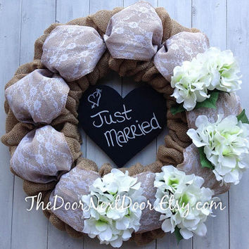 Wedding Wreath - Burlap Wreath - Hydrangea Wreath - Burlap Wedding Decor