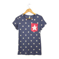 Starry Pocket - Crew Neck Hand Stenciled Slouchy Girly Fit Women's Tee in Heather Navy and Red Stars and Stripes - S M L XL