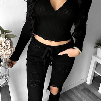 Black Crop Plunging Neckline Long Sleeve Fashion Blouse