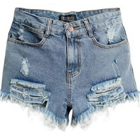 Mid and High Waist Flipped Denim Shorts