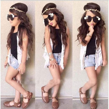 Casual Kids Girls Wear Solid Tank Top Lace Crochet Vest Hole Ripped Jeans Shorts Three Piece Set 7_S = 1913134404