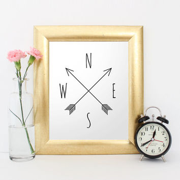 Printable art, Compass, cardinal directions, North, South, West, East, wall art printable, nursery art, directions print, autumn print