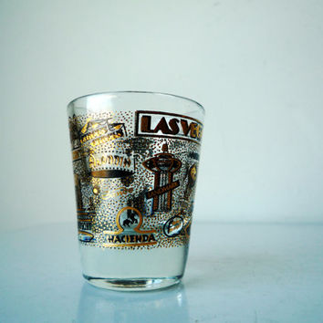 Midcentury LAS VEGAS Shot Glass, Vintage Shot Glass, SALE