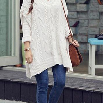 White Plain V-neck Dolman Sleeve Oversize Site Slit Boyfriend Pullover Sweater