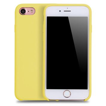 iPhone 7 & iPhone 8 case,YAZHAN Liquid Silicone Gel Rubber Slim Fit Soft Mobile Phone Case with Microfiber Cloth Lining Cushion for Apple iPhone 7 (2016) / iPhone 8 (2017) - Yellow