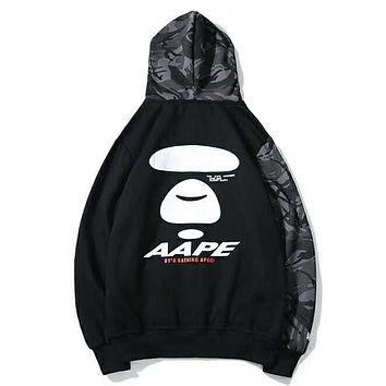 Bape Aape Autumn And Winter Fashion New Bust And Back Letter Print Women Men Camouflage Hooded Long Sleeve Sweater Top Coat Black