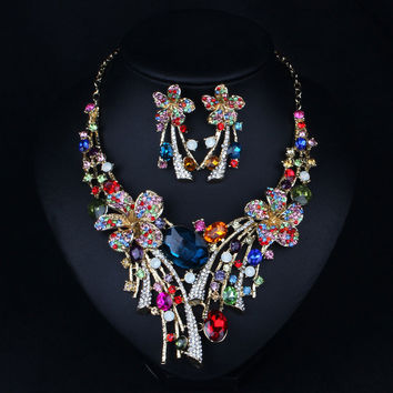 Les Nereides Bridal Jewelry Sets Wedding Necklace Earring For Brides Party Accessories Rhinestone Crystal Flower Big Jewelry Set