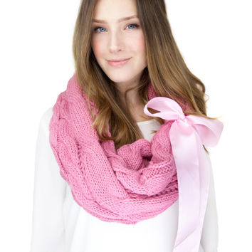 PINK KNIT SCARF infinity scarf with large satin bow cuff, pink cable knit