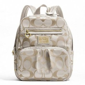 Coach Daisy Signature Backpack School Travel Laptop / Baby Diaper Bag Khaki/white