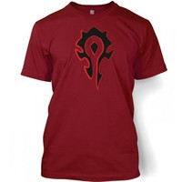 Something Geeky PP - Horde Black Fill And Red Outline Logo T-Shirt -Inspired By World Of Warcraft