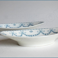 Pair of transferware Sarreguemines salad plates, Juliana décor. France, late 1910s. Vintage french tableware.