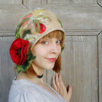 Felted cloche hat, retro style hat, unique hat with red poppy flower, fairy wool hat, stylish winter woman hat, covers the ears hat, OOAK