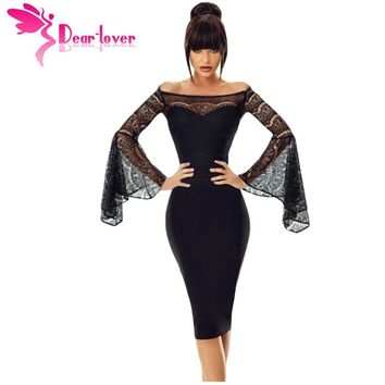 Dear Lover Little Black Spring Sexy Party Lace Bell Long Sleeve Off Shoulder Bodycon Dress Knee-Length Robe Femme LC220269