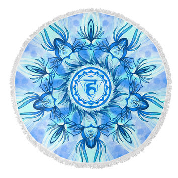 Throat Chakra Round Beach Towel