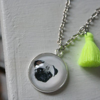 Pug charm necklace with fluorescent yellow tassel. Pug jewelry, pug gifts, tassel necklace, bold jewelry. Gift with pugs.