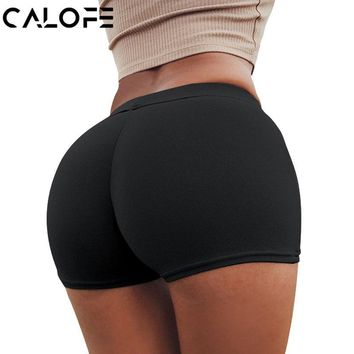 CALOFE Hot Yoga Shorts Women Sexy High Waist Beach Shorts Sports Gym Jogging Workout Sports Shorts Quick Dry Elastic Clothes