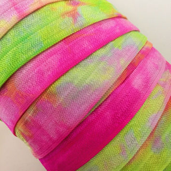 "Chartreuse-Fuchsia-White Hand Tie Dyed 5/8"" Fold Over Elastic"