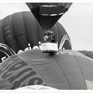 Oops - Black and white photography - Hot air balloon photography - fine art photography - decoration - wall art