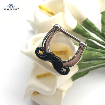 16G Black Moustache Nose Rings Studs Beard Fake Nose Piercing Septum Women Body Jewelry Cute Surgical Steel Nose Ring Pircing