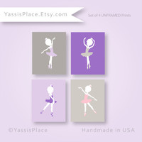 Baby Girl Nursery Decor Ballerina Art Print Purple girl decor Ballet Dancer art Pink and Gray Artwork Baby Gift by YassisPlace BGS-003