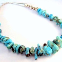 Turquoise Nugget Choker Necklace Sterling Silver Vintage