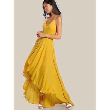 Yellow Sleeveless Asymmetrical Maxi Dress