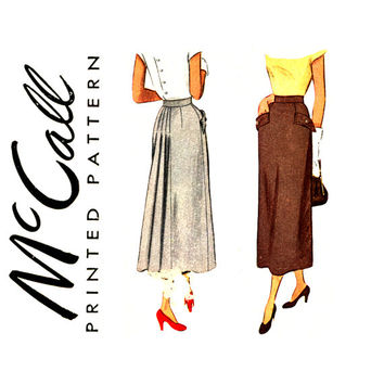 1940s Skirt Pattern Waist 26 McCall 7599 Swing Era Straight Skirt with Gored, Flared Back Inset Panel Sheath Skirt Day or Evening Skirt