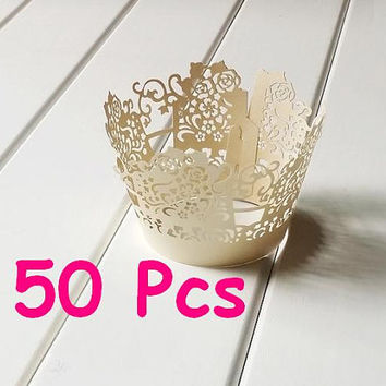 Stencil fancy flower laser cut wrapper flower wrapping Cupcake Wrappers handmade cake wrapper lace pink wrapper wedding party wraps collars