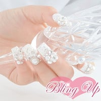 Japanese Wedding 3d Nail Art Set with Flowers, Pearls and Rhinestones