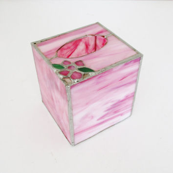 Tissue Box Cover Vintage Stained Glass Square Tissue Box Cover Pink Tissue Box Holder Decorative Kleenex Box Cover Boho Vintage Bathroom